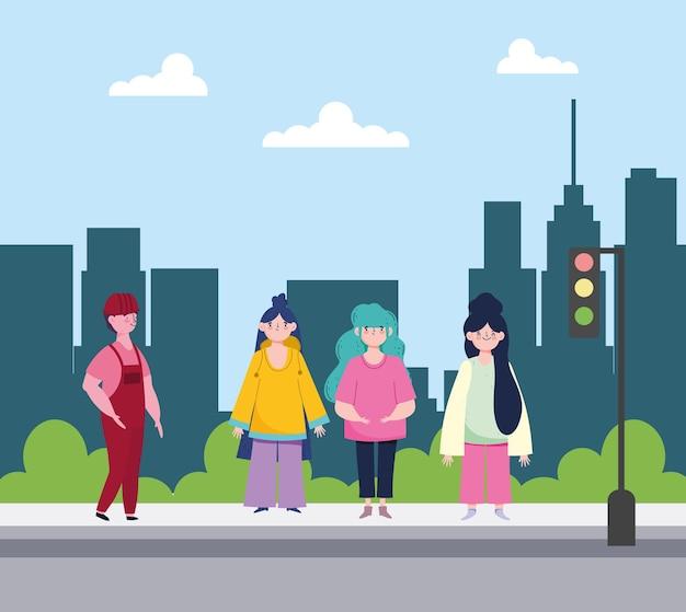 Gens debout dans la rue