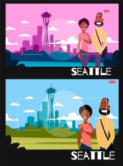 Les gens debout sont photographiés dans le contexte de seattle. illustration dans le style de la photographie. couple afro-américain sur le fond de la ville de seattle.