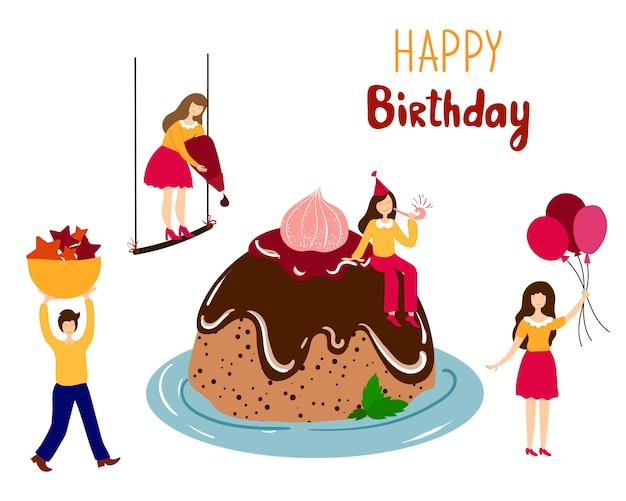 Gens décorant le gâteau d'anniversaire géant