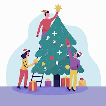 Gens, décoration, noël arbre