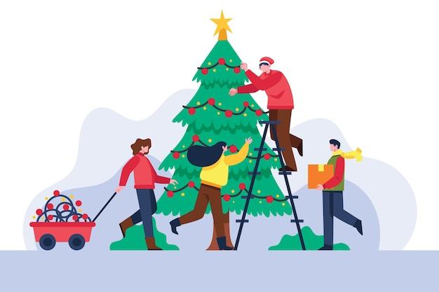 Gens, décorer, noël, arbre