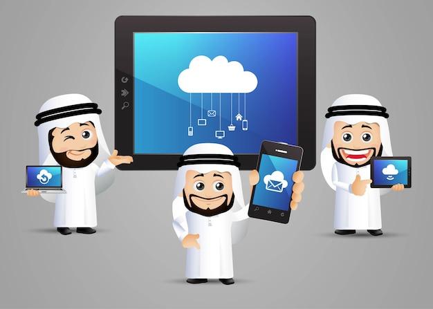 Les gens définissent l'homme d'affaires arabe de l'informatique en nuage avec le nuage