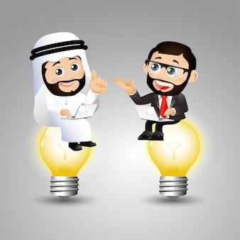 Les gens définissent des hommes d'affaires arabes assis sur une ampoule