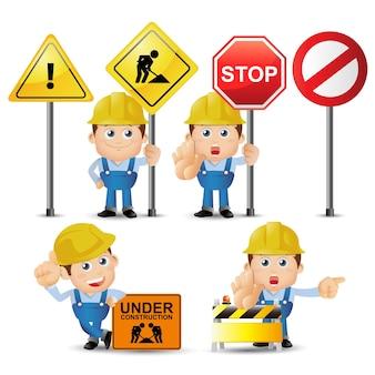 Les gens définissent la profession ensemble de personnage de constructeur dans des poses différentes avec des signes