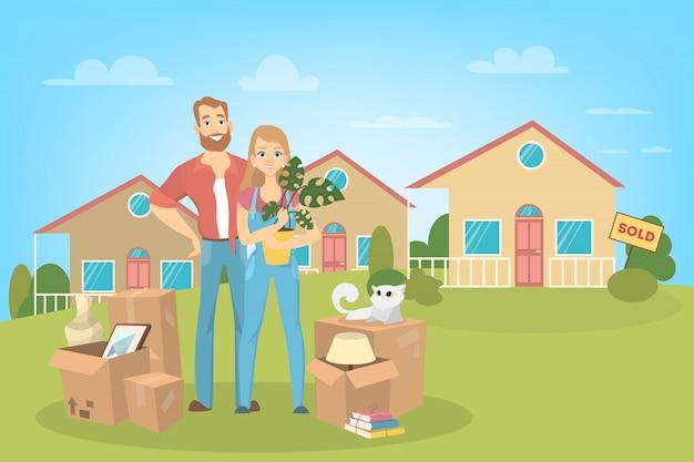 Les gens déménagent dans une nouvelle maison avec des choses à la maison et un chat.