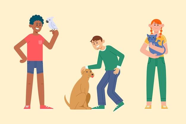 Gens de design plat avec des animaux de compagnie