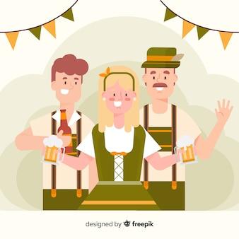 Les gens de design plat célébrant l'oktoberfest