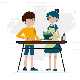 Gens de design plat cuisine illustration