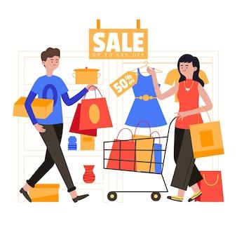 Gens de design plat faisant du shopping en vente
