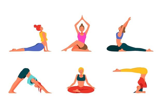 Gens de design plat faisant du yoga