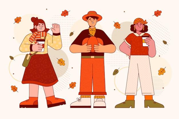 Gens de design plat en illustration d'automne