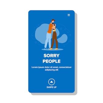 Des gens désolés étreignant une relation étroite