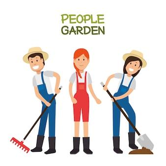 Gens de dessin animé agriculteur jardinier