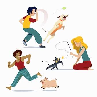 Gens de dessin animé avec des animaux de compagnie