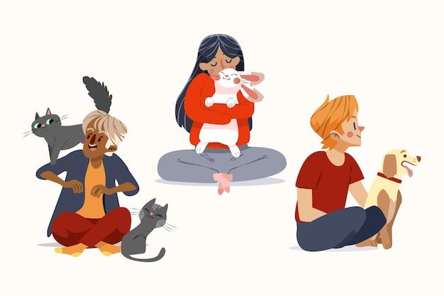 Gens de dessin animé avec collection d'animaux de compagnie