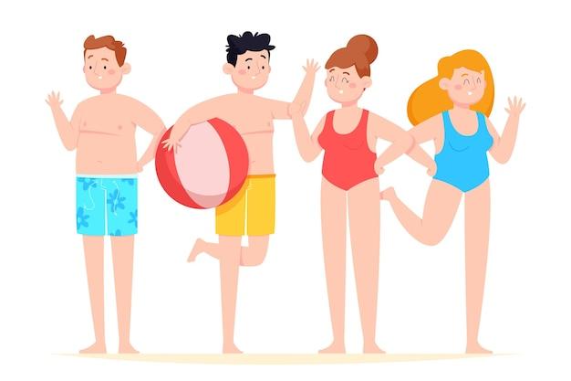 Gens de dessin animé avec collection de vêtements d'été