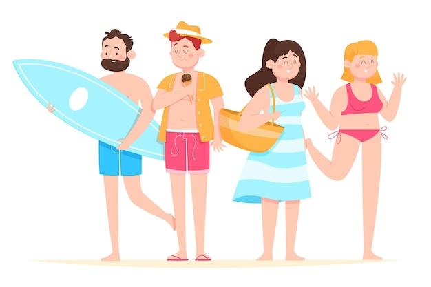 Gens de dessin animé avec ensemble de vêtements d'été