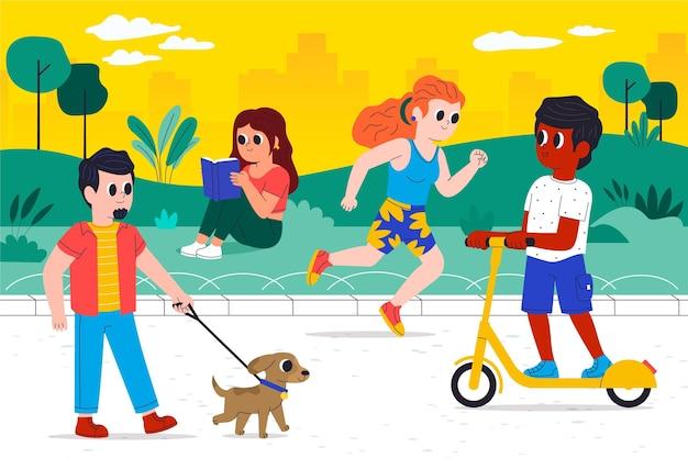 Gens de dessin animé faisant des activités de plein air