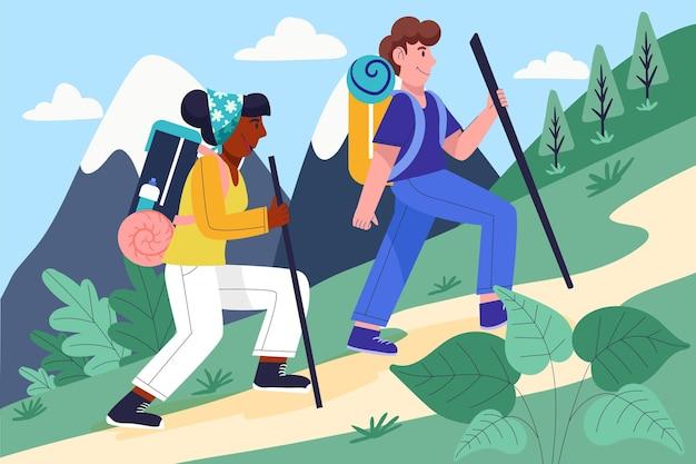 Gens de dessin animé faisant de la randonnée ensemble
