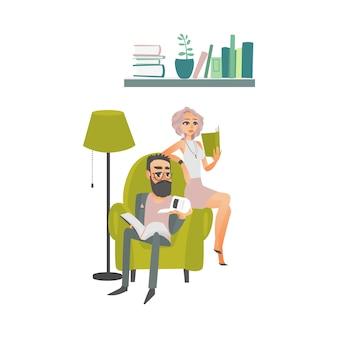 Gens de dessin animé lisant une scène de livres