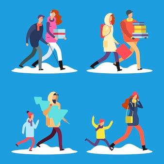 Gens de dessin animé marchant sur la rue de neige d'hiver