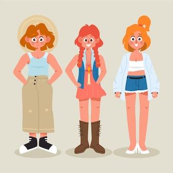 Gens de dessin animé avec pack de vêtements d'été