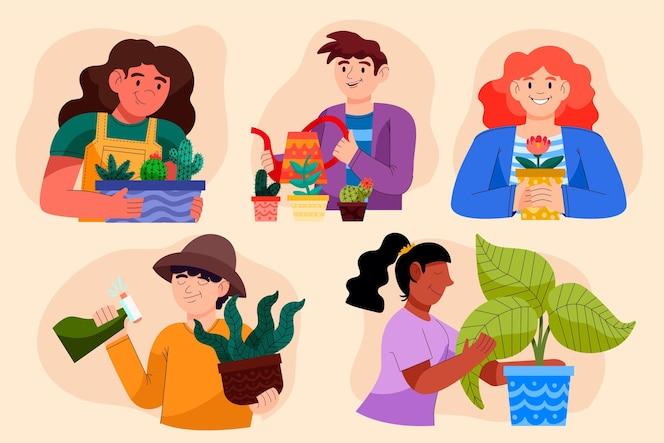 Gens de dessin animé prenant soin de la collection de plantes