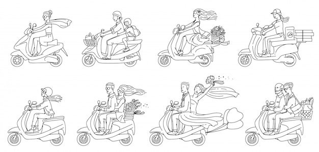 Gens de dessin animé sur des scooters - ensemble plat incolore de couples et autres
