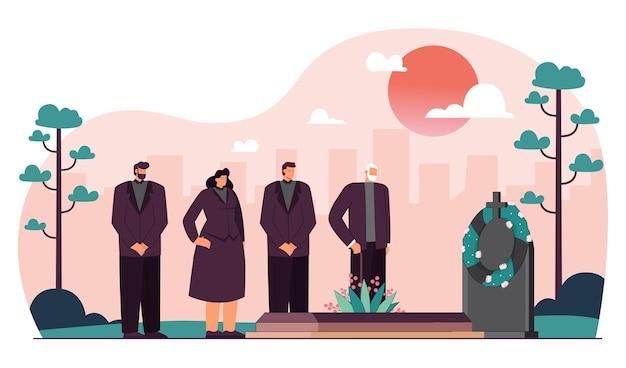 Gens de dessin animé en vêtements de deuil assistant aux funérailles