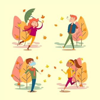 Gens dessinés à la main en automne