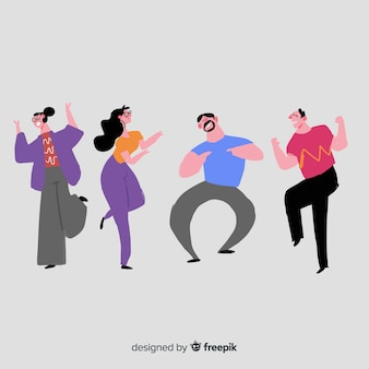 Les gens dessinés à la main dansent