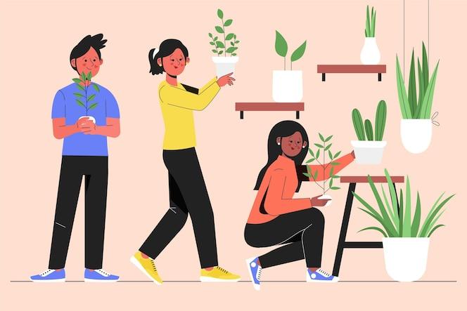 Gens dessinés à la main, jardinage ensemble