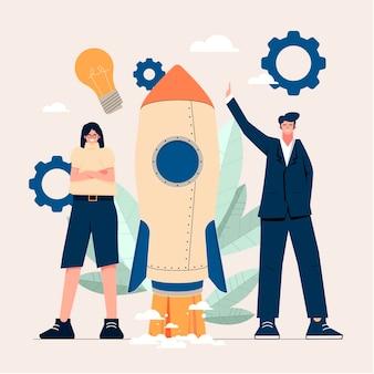 Gens dessinés à la main à plat démarrant un projet d'entreprise