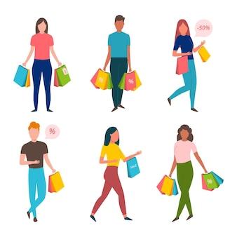 Gens dessinés à la main plat shopping sur illustration de vente