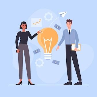 Gens dessinés à la main plate démarrant un projet d'entreprise avec ampoule