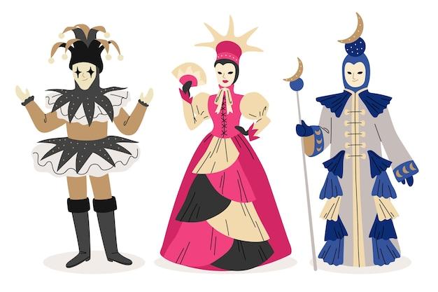 Gens dessinés à la main portant des costumes de carnaval italien