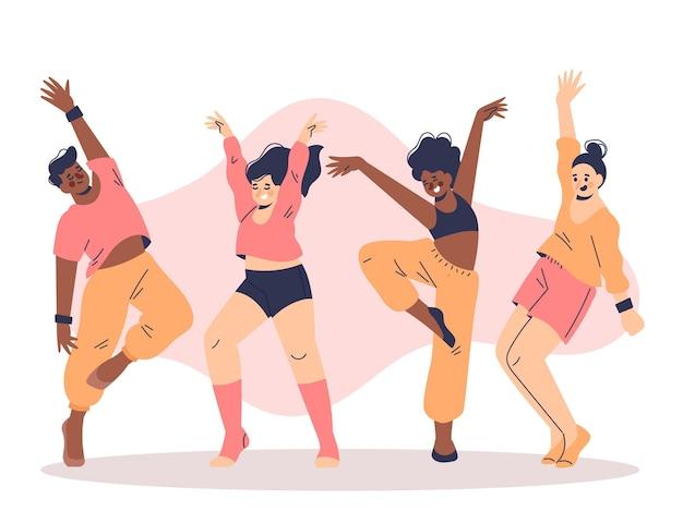 Gens dessinés à la main qui dansent