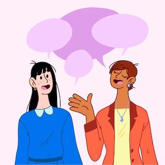 Gens dessinés à la main qui parlent