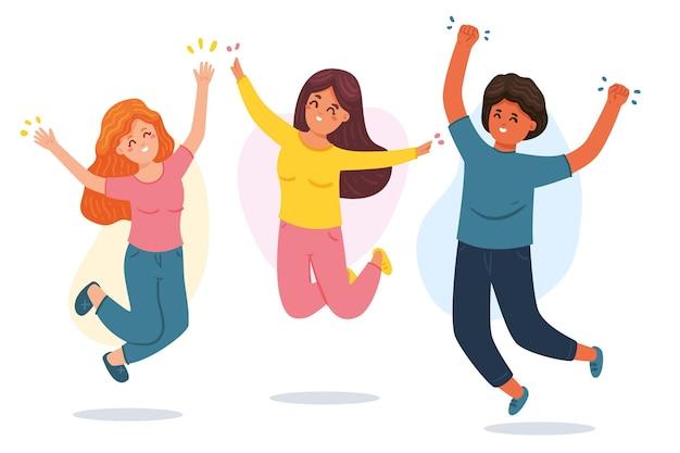 Gens dessinés à la main sautant ensemble