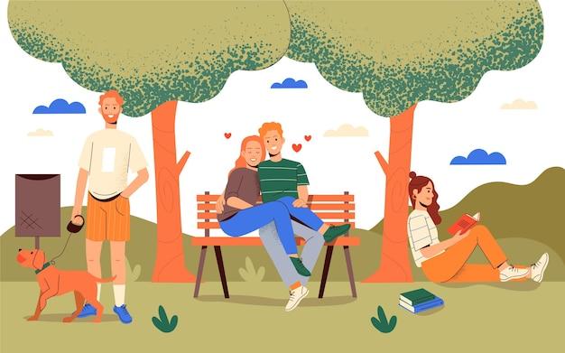 Gens dessinés à la main se relaxant au parc