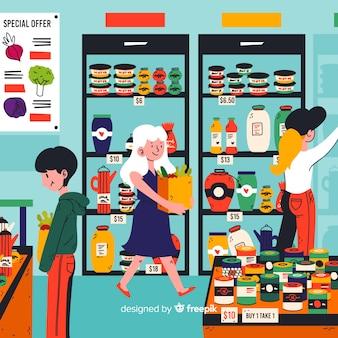 Gens dessinés à la main, shopping dans le contexte du supermarché