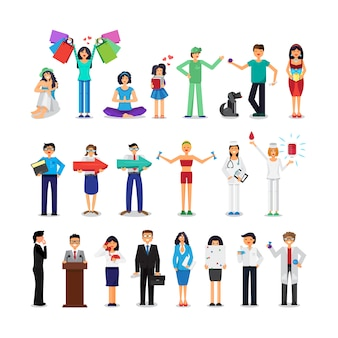 Les gens de différentes professions mis. illustrations de différentes sphères de la vie.