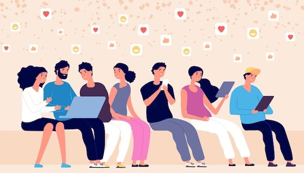 Les gens discutent en ligne. les gars avec ordinateur portable, tablette et téléphone surfent sur les réseaux sociaux