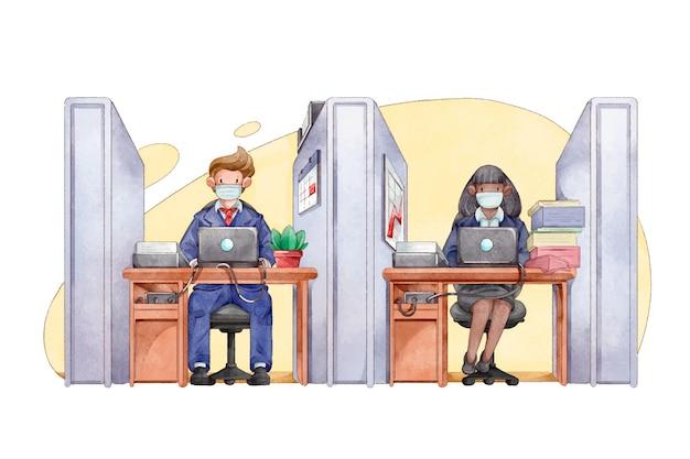 Les gens à distance sociale au bureau