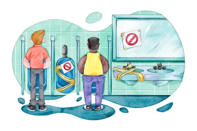 Les gens à distance sociale dans des toilettes publiques