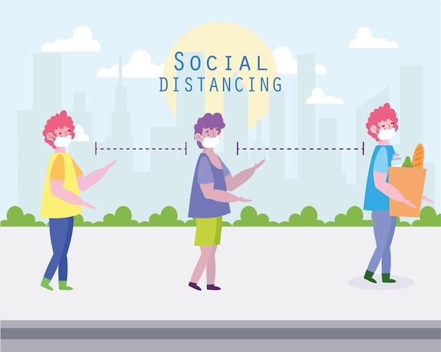 Les gens à distance sociale