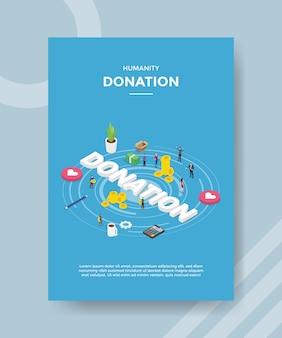 Gens de don de l'humanité debout autour de la calculatrice de coeur de pièce d'argent texte de don pour le modèle de bannière et flyer