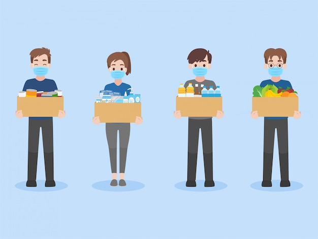 Les gens donnent des boissons, des aliments en conserve et des médicaments