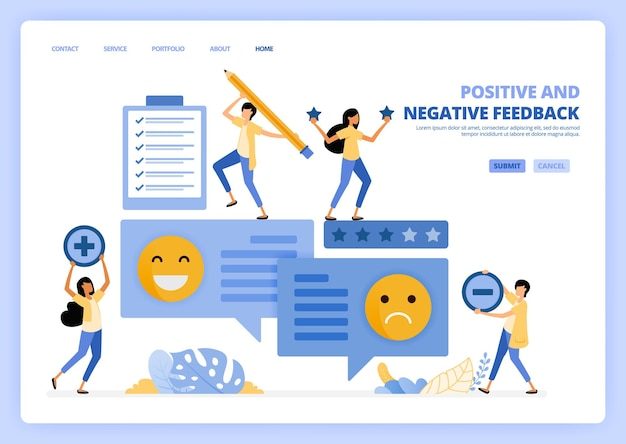 Les gens donnent des commentaires négatifs positifs avec des émoticônes dans l'illustration des commentaires