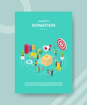 Les gens du don de l'humanité mettent de l'argent dans une boîte pour un modèle de bannière et un dépliant